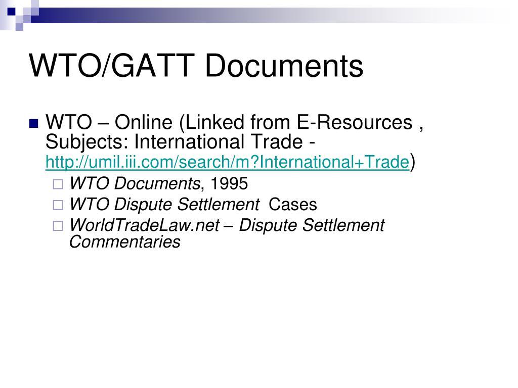 WTO/GATT Documents