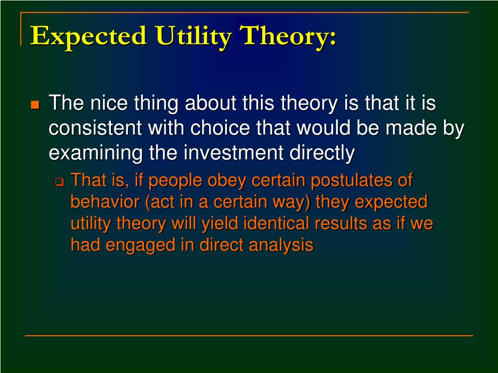 Expected Utility Theory: