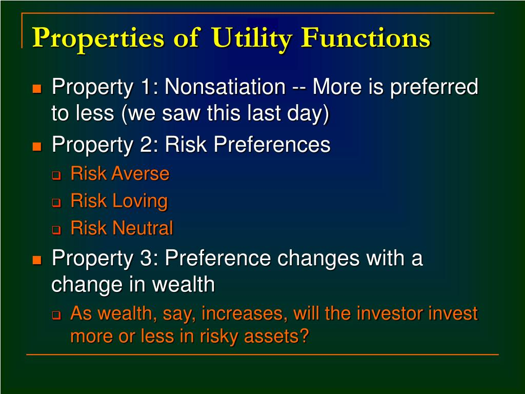 Properties of Utility Functions