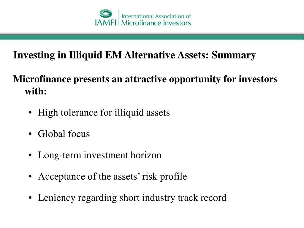 Investing in Illiquid EM Alternative Assets: Summary