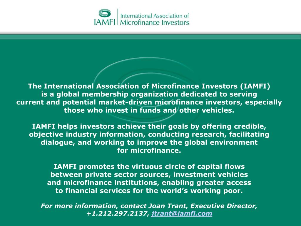 The International Association of Microfinance Investors (IAMFI)