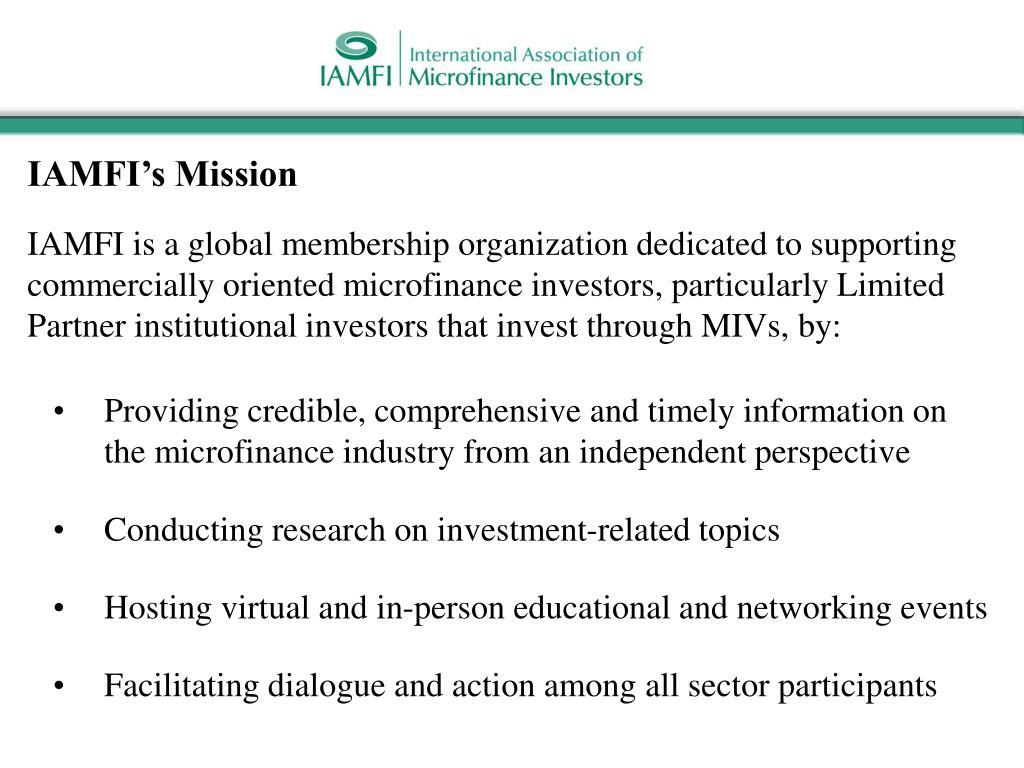 IAMFI's Mission