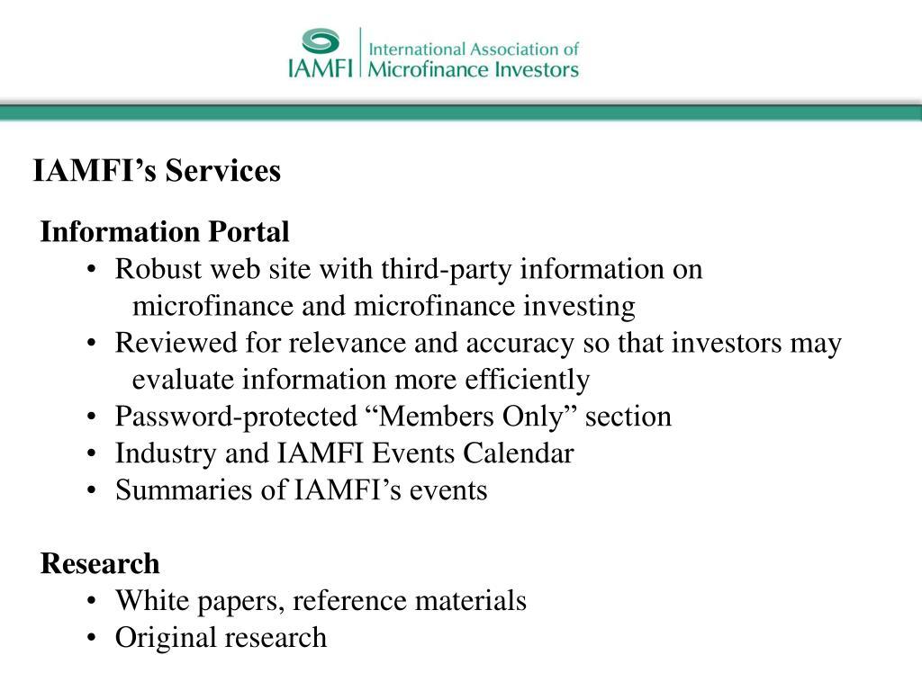 IAMFI's Services