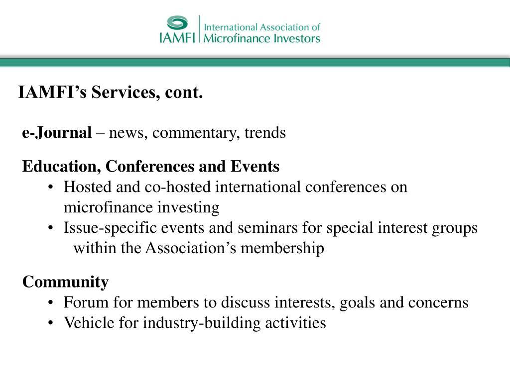 IAMFI's Services, cont.