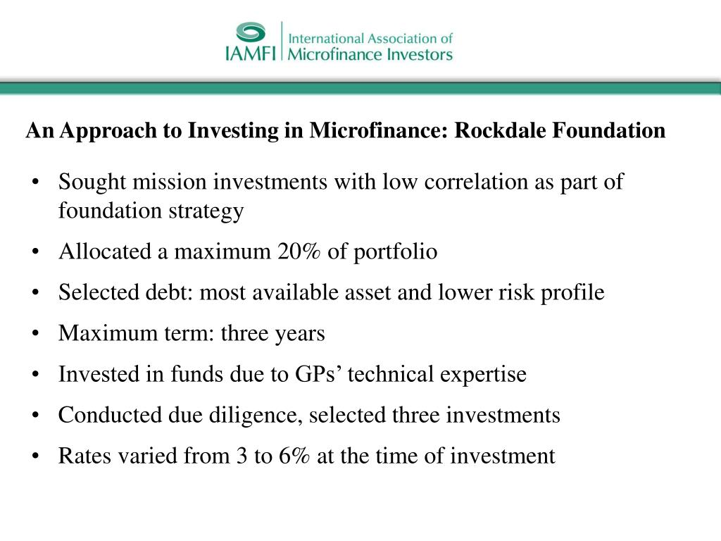 An Approach to Investing in Microfinance: Rockdale Foundation