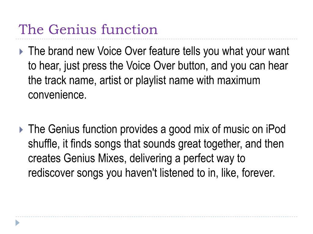 The Genius function