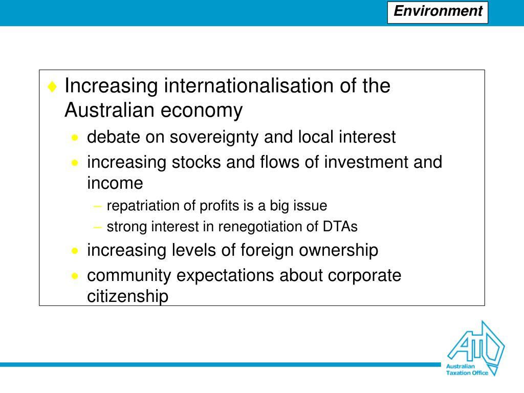 Increasing internationalisation of the Australian economy