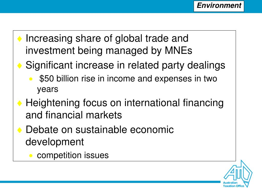 Increasing share of global trade and investment being managed by MNEs