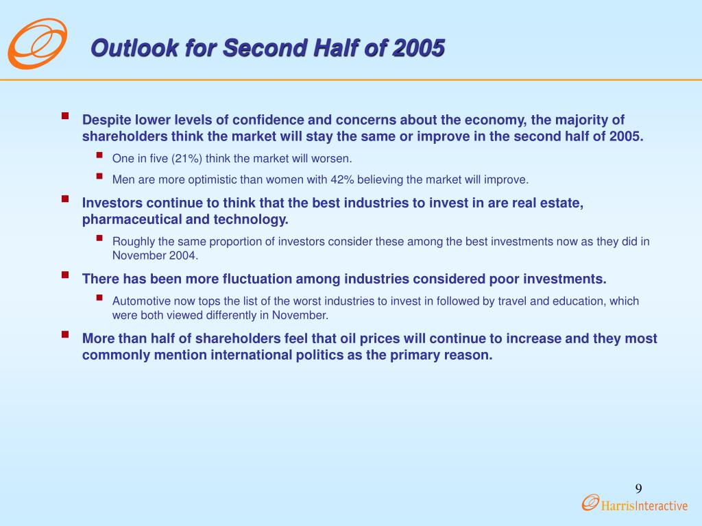 Outlook for Second Half of 2005