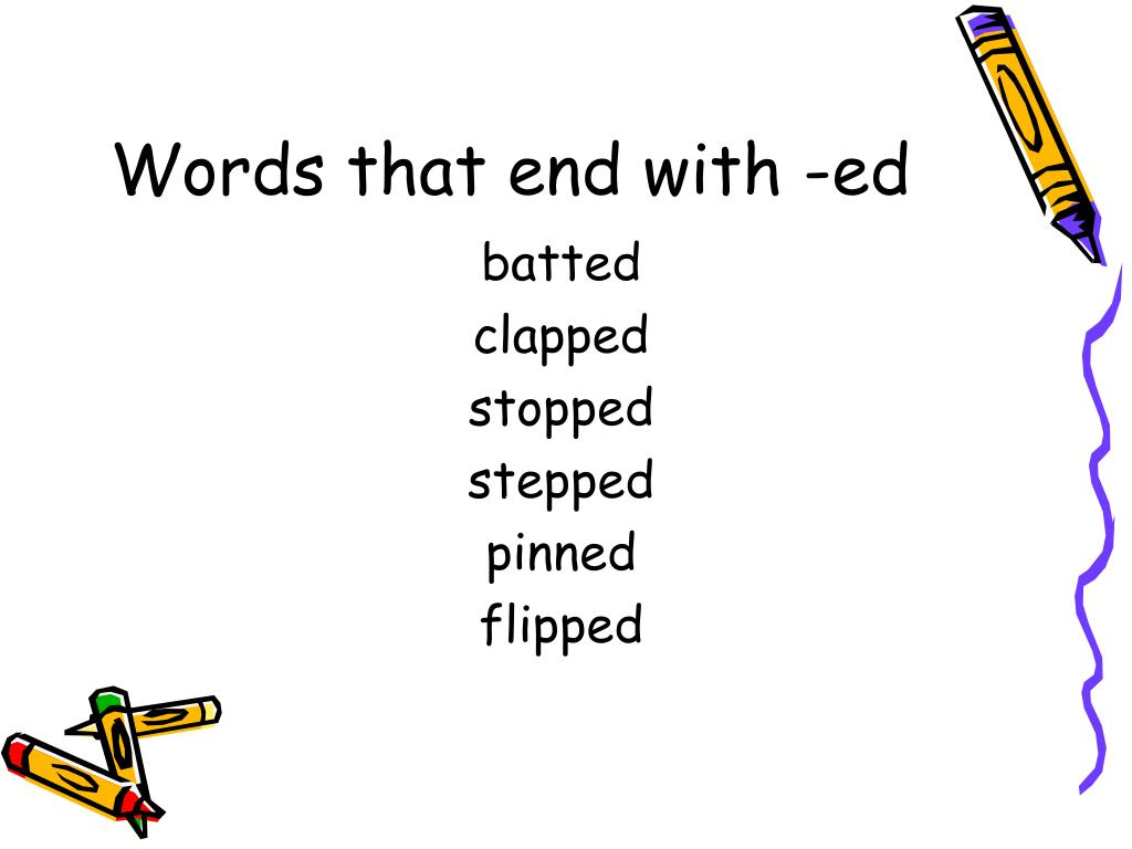 Words that end with -ed