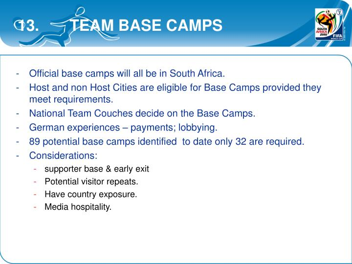 13.       TEAM BASE CAMPS