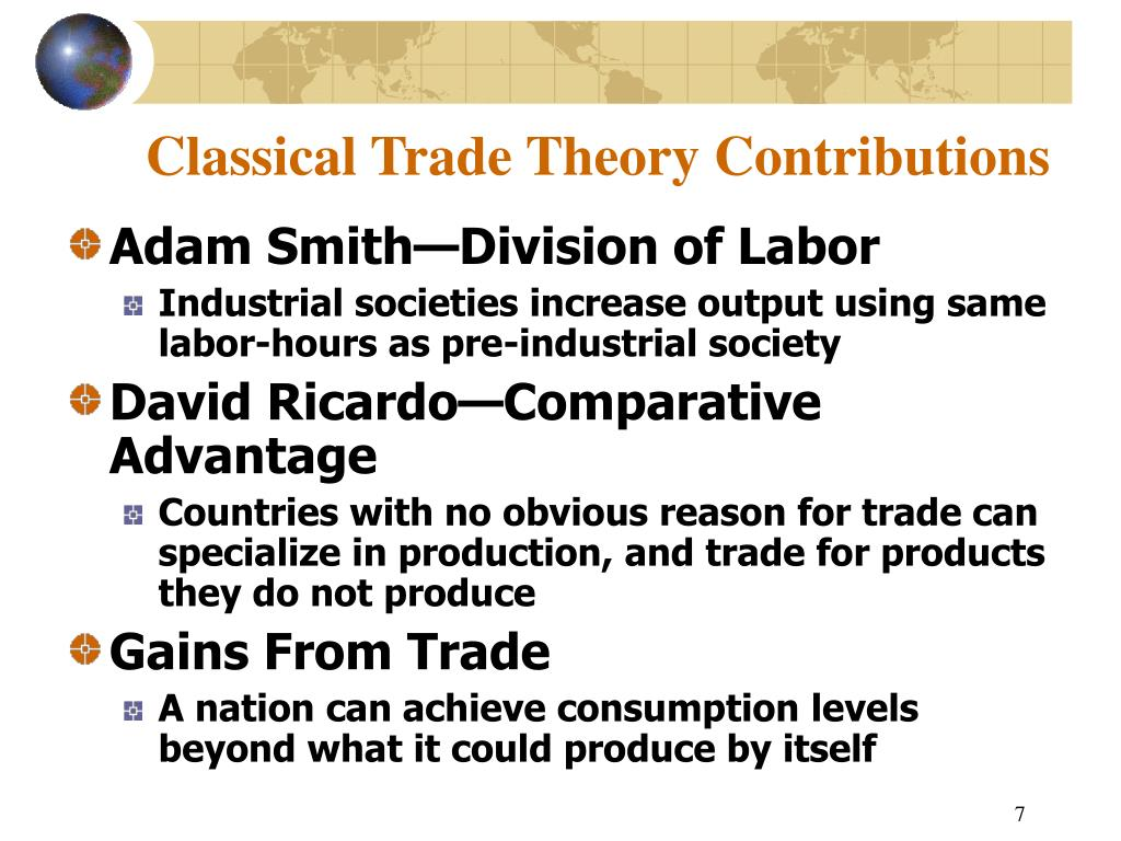 Classical Trade Theory Contributions