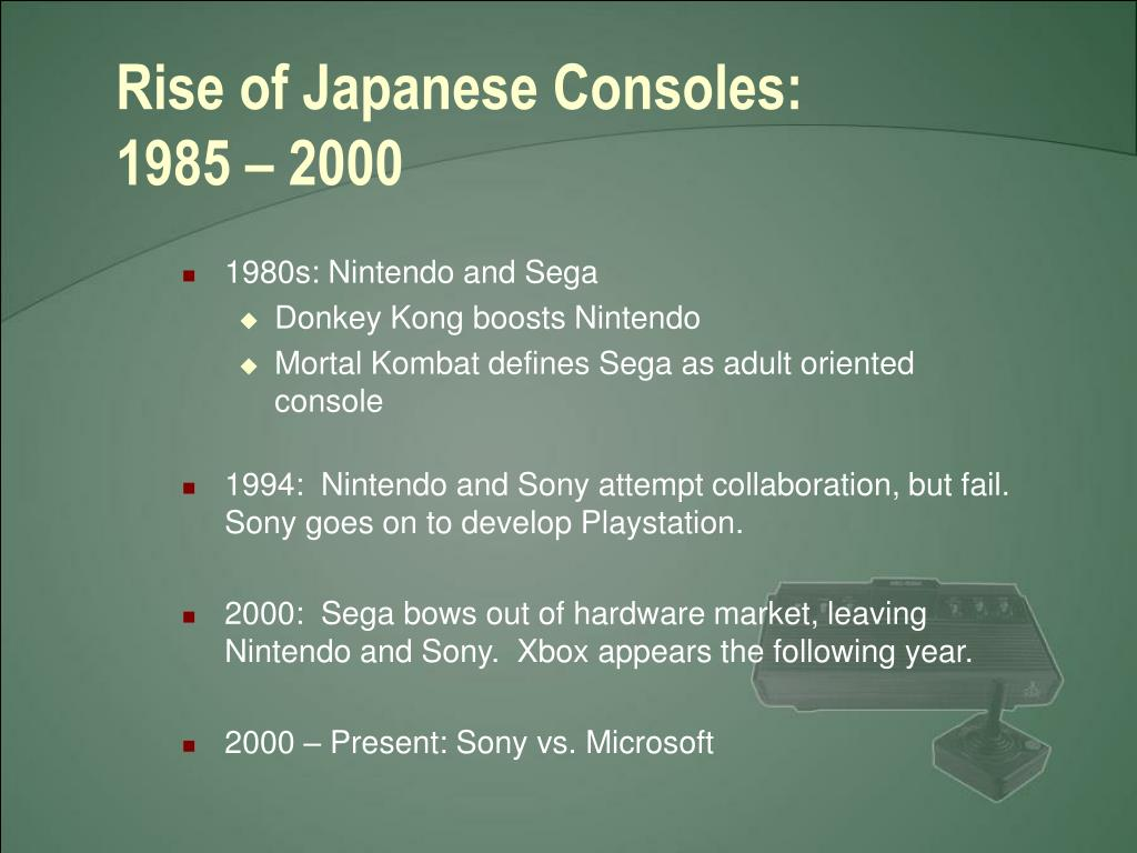 Rise of Japanese Consoles:  1985 – 2000