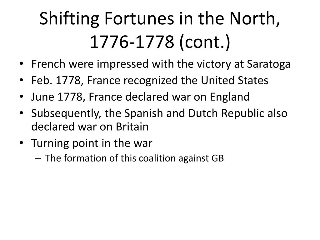 Shifting Fortunes in the North, 1776-1778 (cont.)