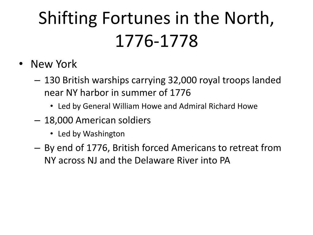 Shifting Fortunes in the North, 1776-1778