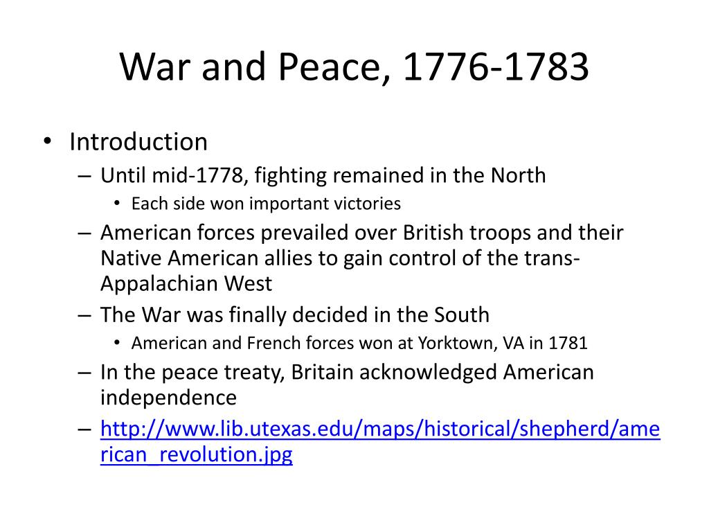 War and Peace, 1776-1783