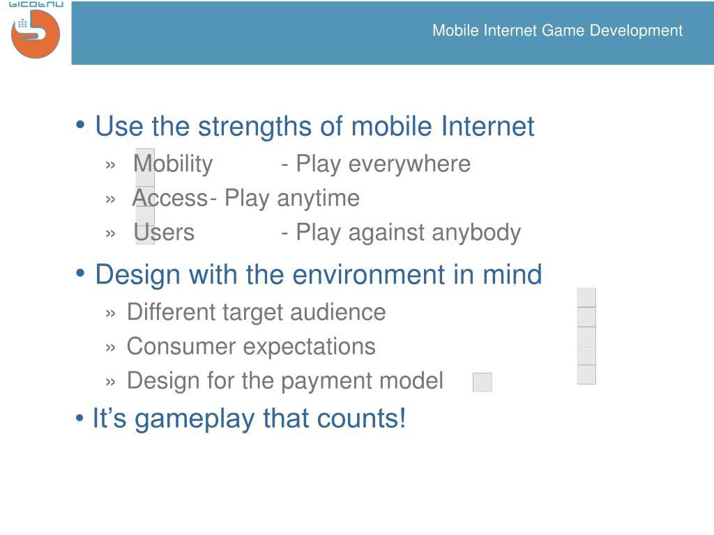 Mobile Internet Game Development