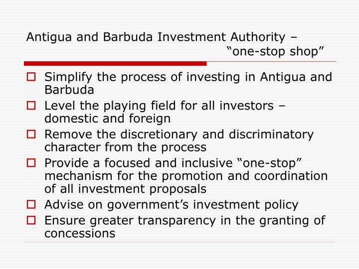 Antigua and Barbuda Investment Authority –
