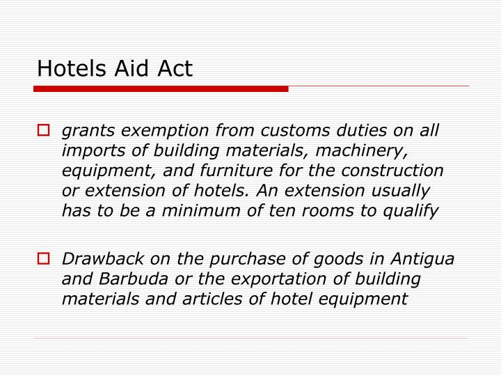 Hotels Aid Act