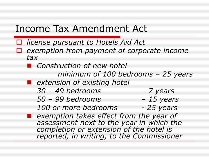 Income Tax Amendment Act