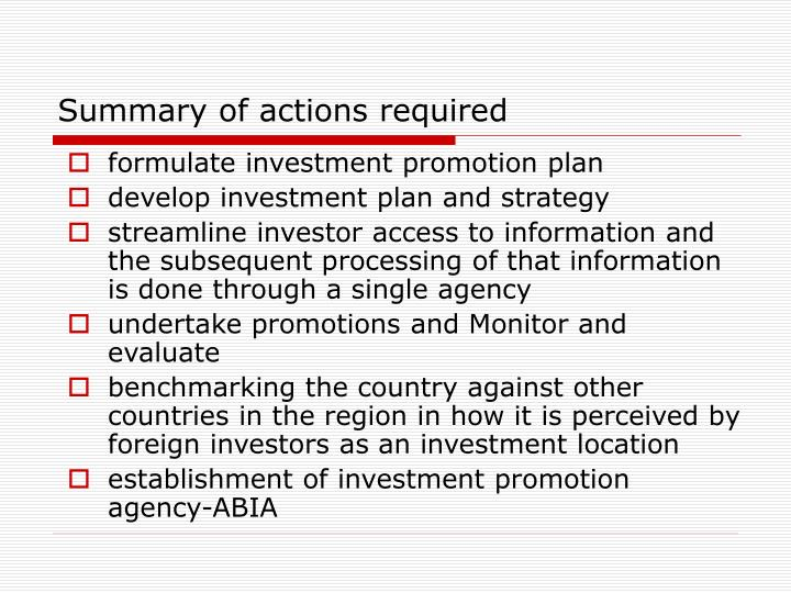Summary of actions required