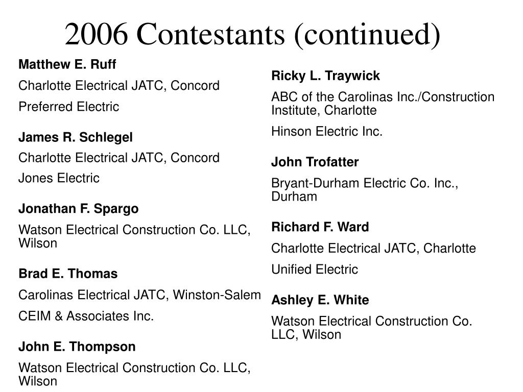 2006 Contestants (continued)