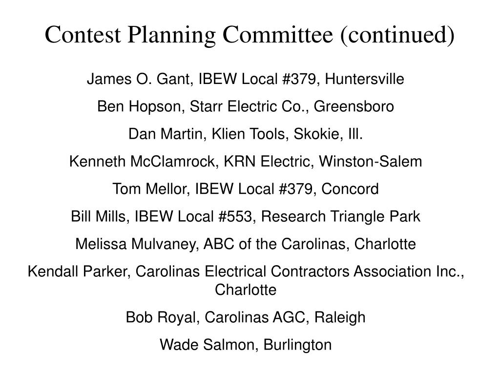 Contest Planning Committee (continued)