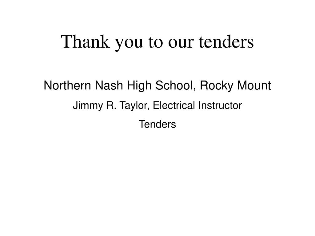 Thank you to our tenders