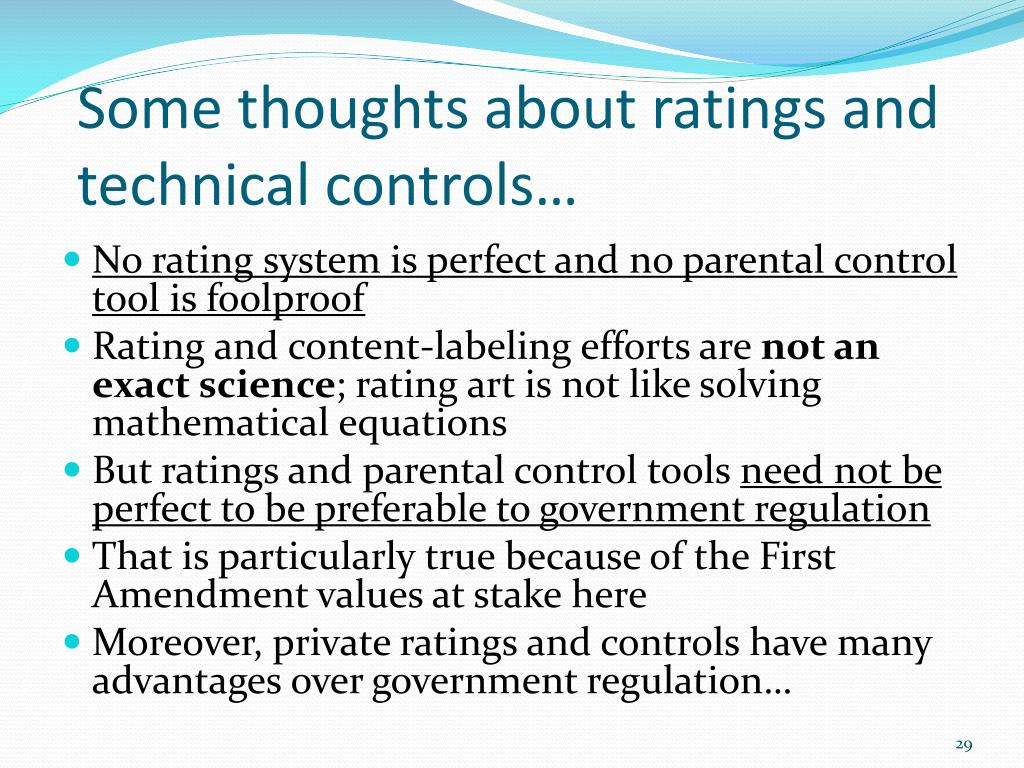 Some thoughts about ratings and technical controls…