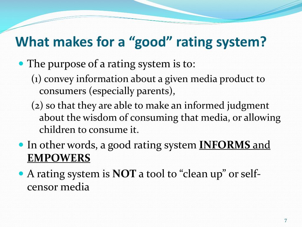 "What makes for a ""good"" rating system?"
