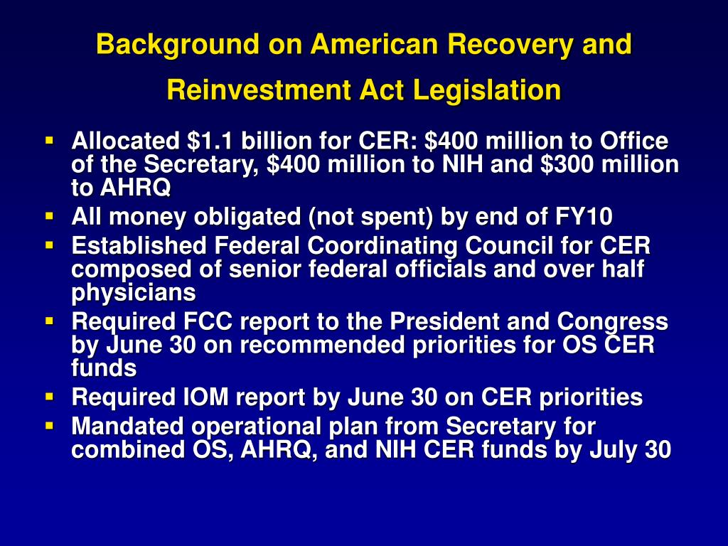 Background on American Recovery and Reinvestment Act Legislation