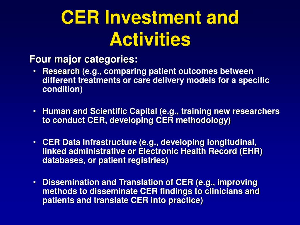 CER Investment and Activities