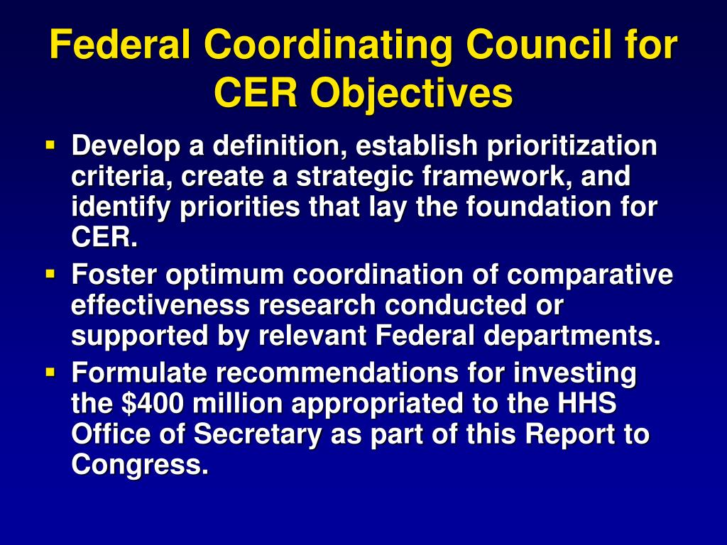 Federal Coordinating Council for CER Objectives