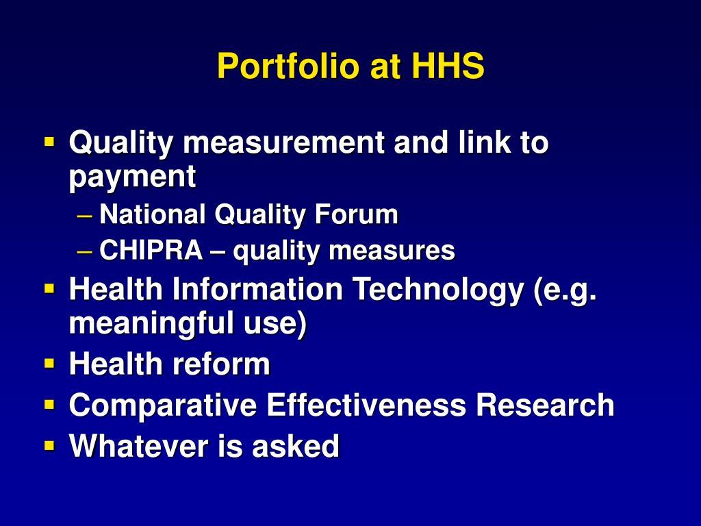 Portfolio at HHS