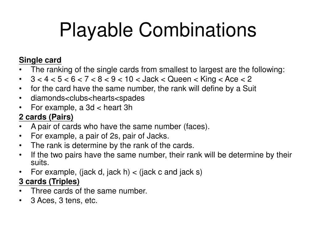 Playable Combinations
