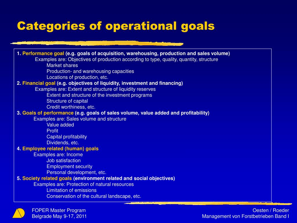 Categories of operational goals