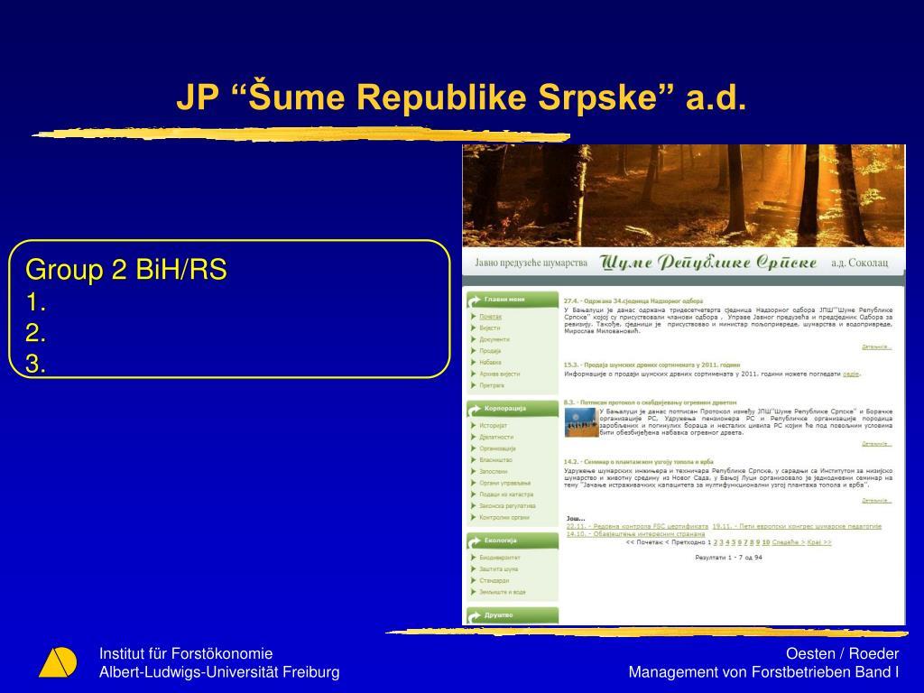 "JP ""Šume Republike Srpske"" a.d."