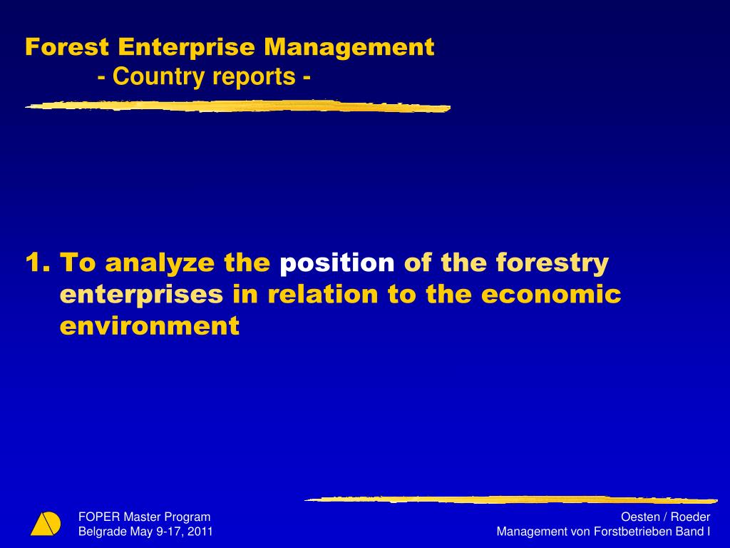 Forest Enterprise Management