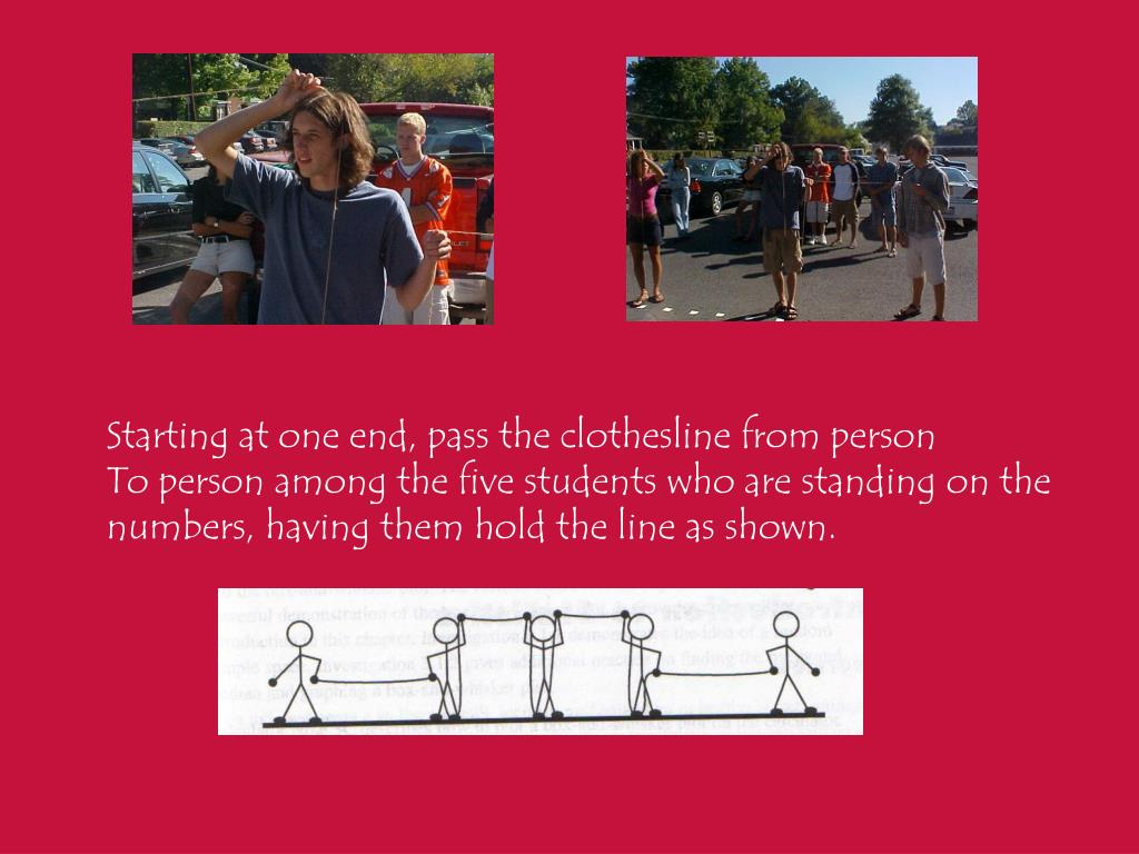 Starting at one end, pass the clothesline from person