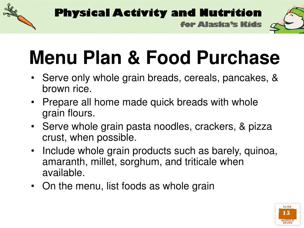 Menu Plan & Food Purchase
