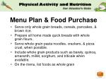 menu plan food purchase