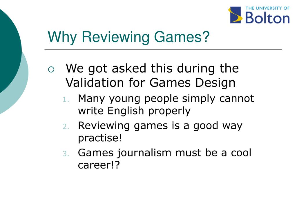 Why Reviewing Games?