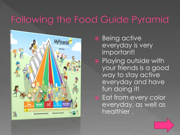 Following the food guide pyramid