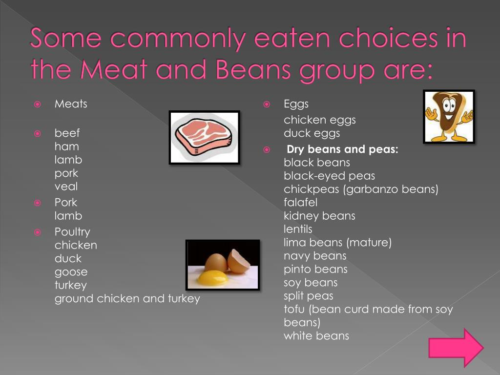 Some commonly eaten choices in the Meat and Beans group are: