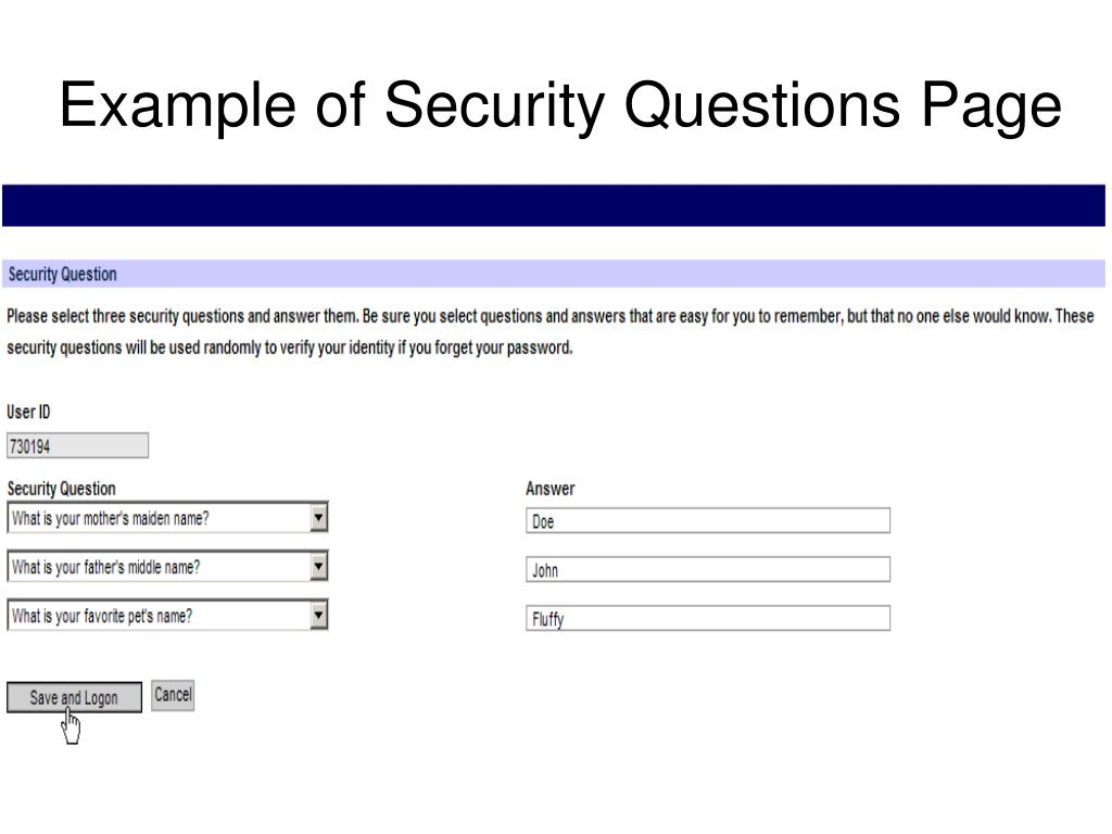 Example of Security Questions Page