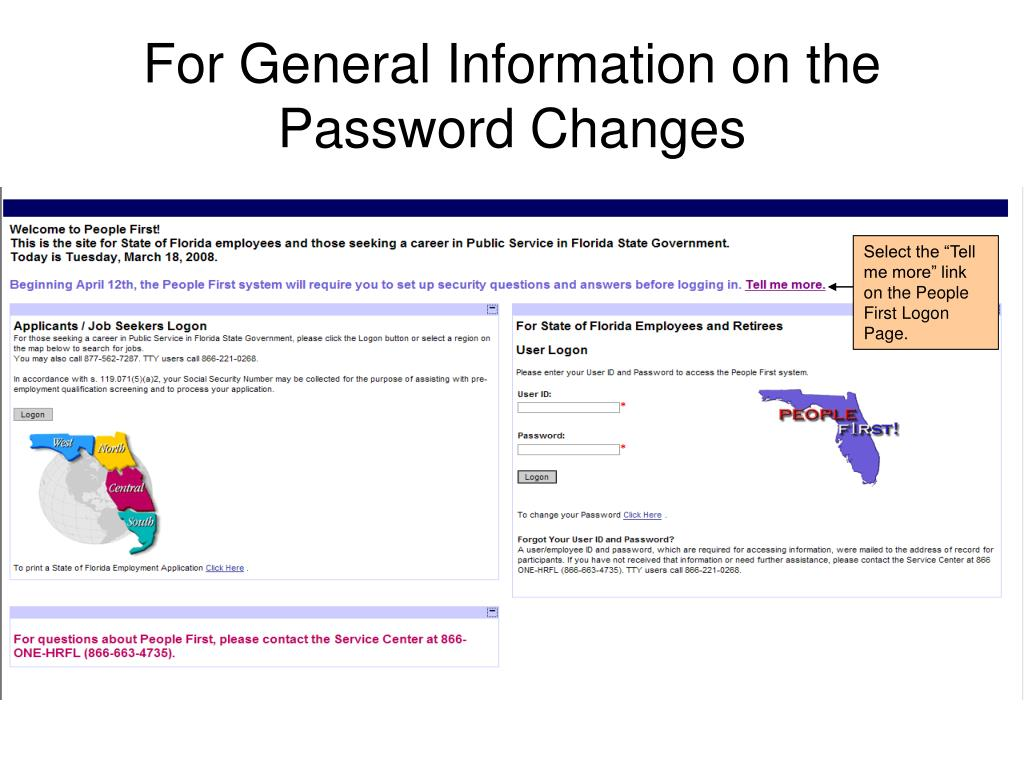 For General Information on the Password Changes