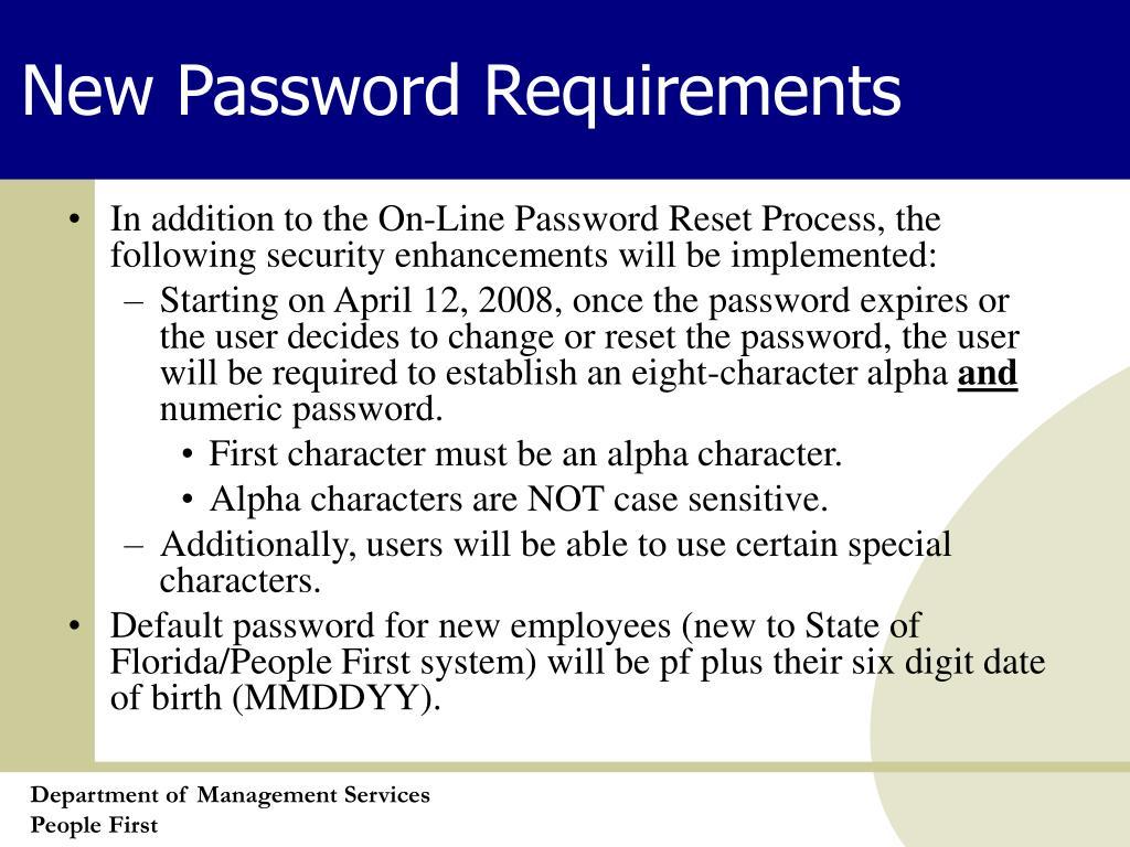 New Password Requirements