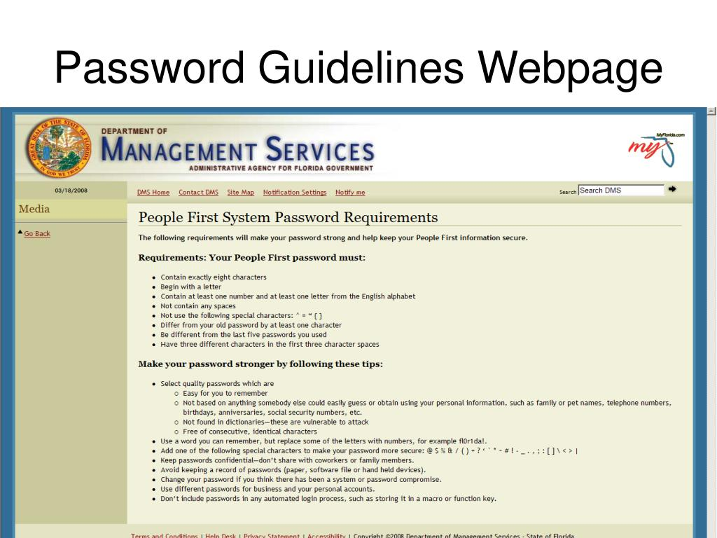 Password Guidelines Webpage