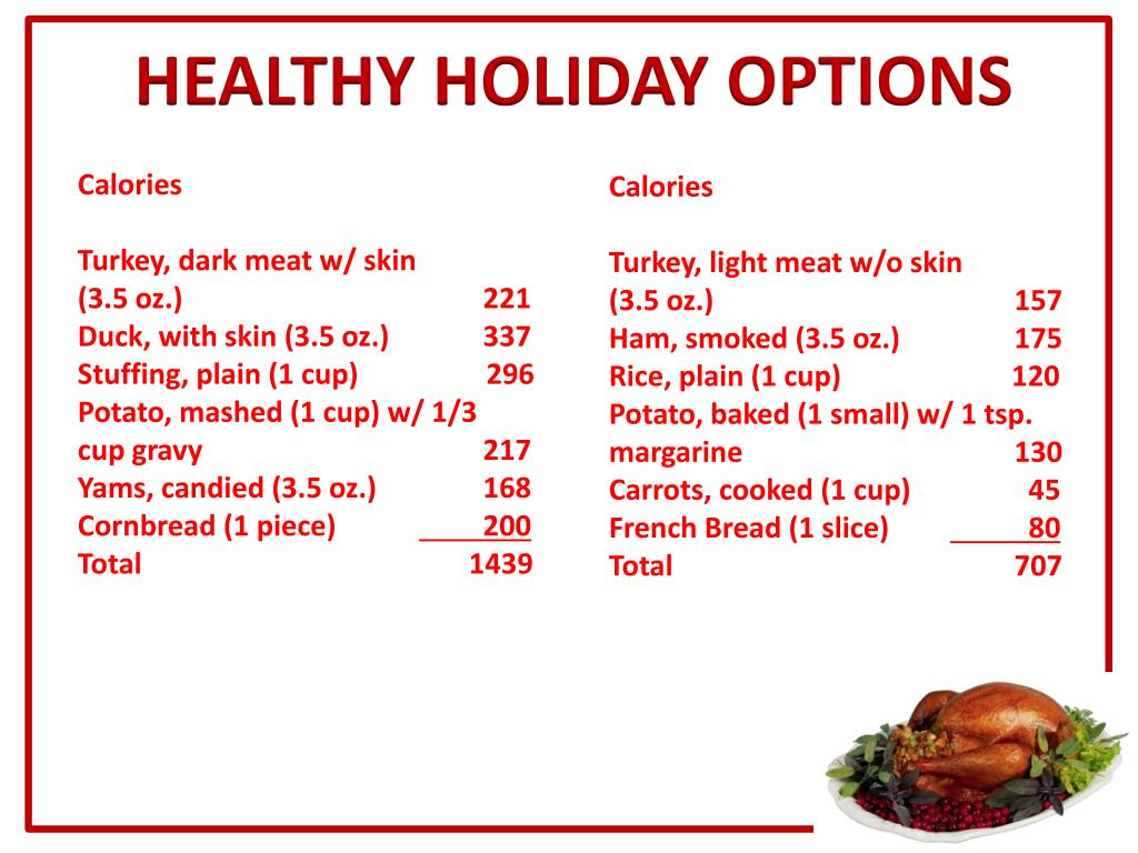 HEALTHY HOLIDAY OPTIONS