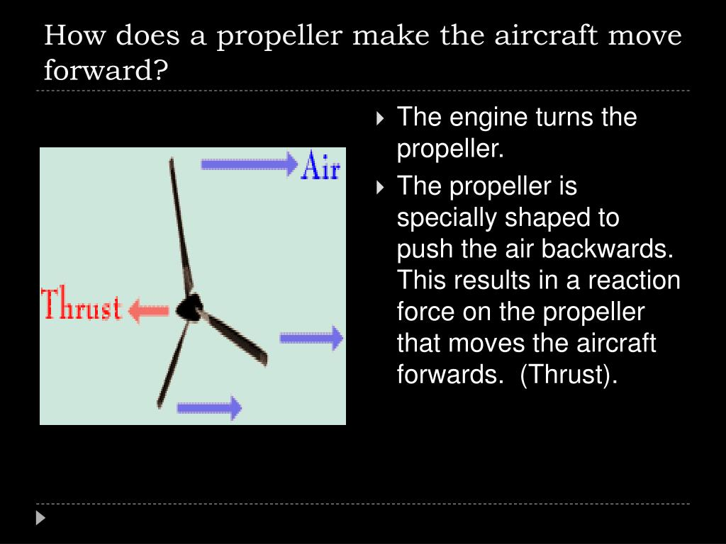 How does a propeller make the aircraft move forward?